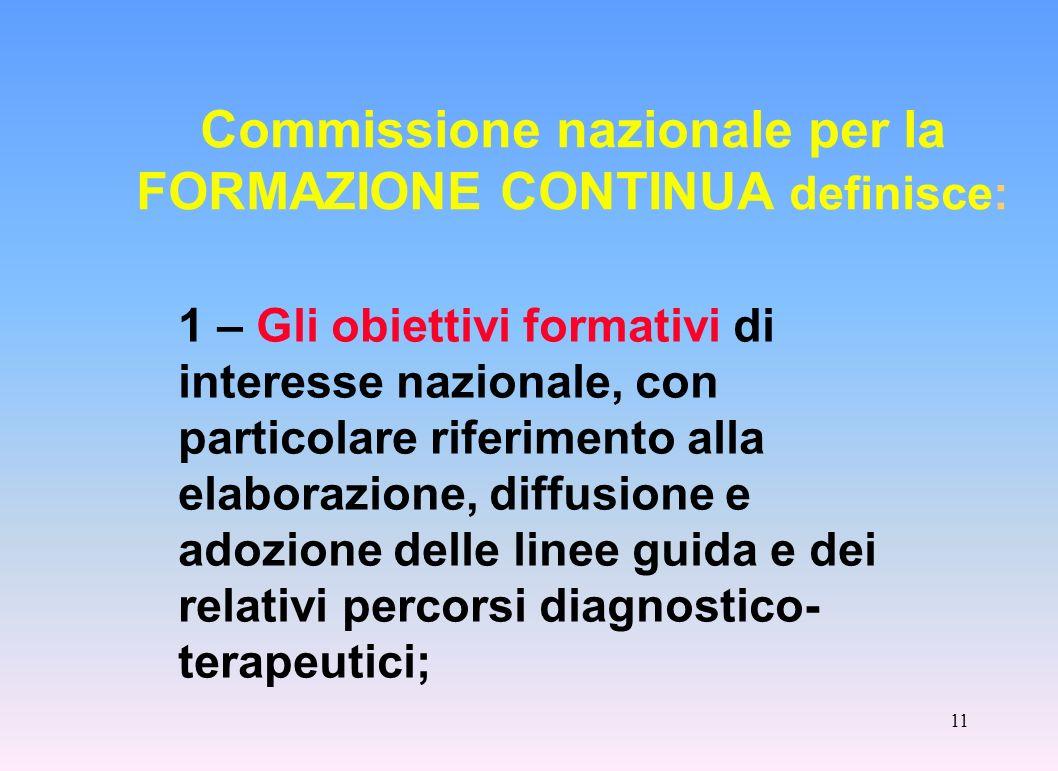 Commissione nazionale per la FORMAZIONE CONTINUA definisce: