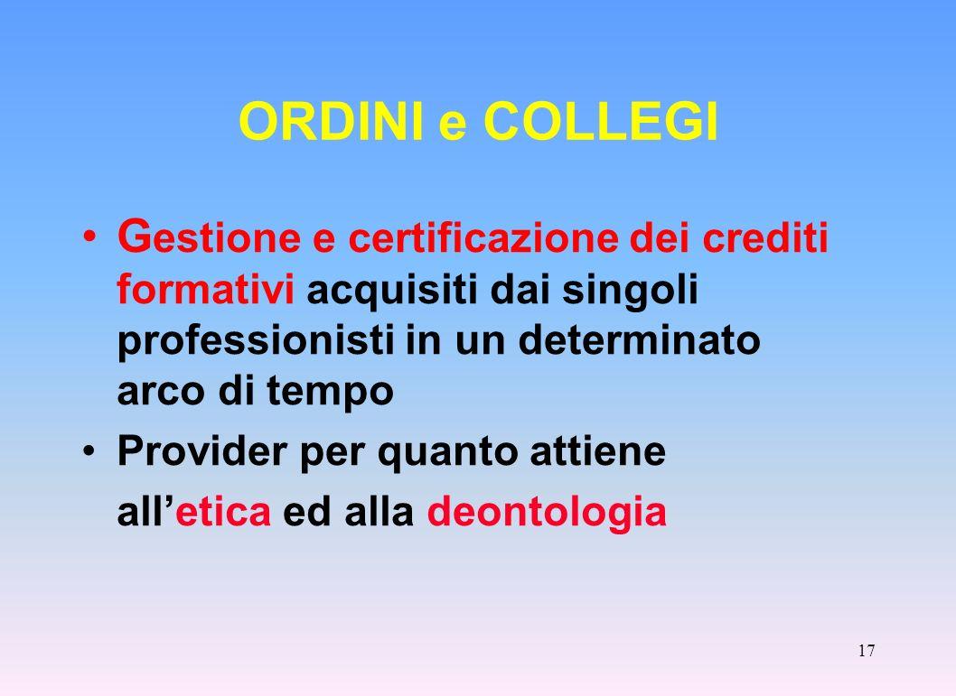ORDINI e COLLEGI Gestione e certificazione dei crediti formativi acquisiti dai singoli professionisti in un determinato arco di tempo.