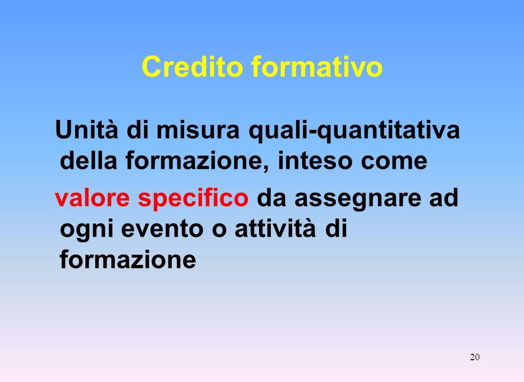 Credito formativo Unità di misura quali-quantitativa della formazione, inteso come.