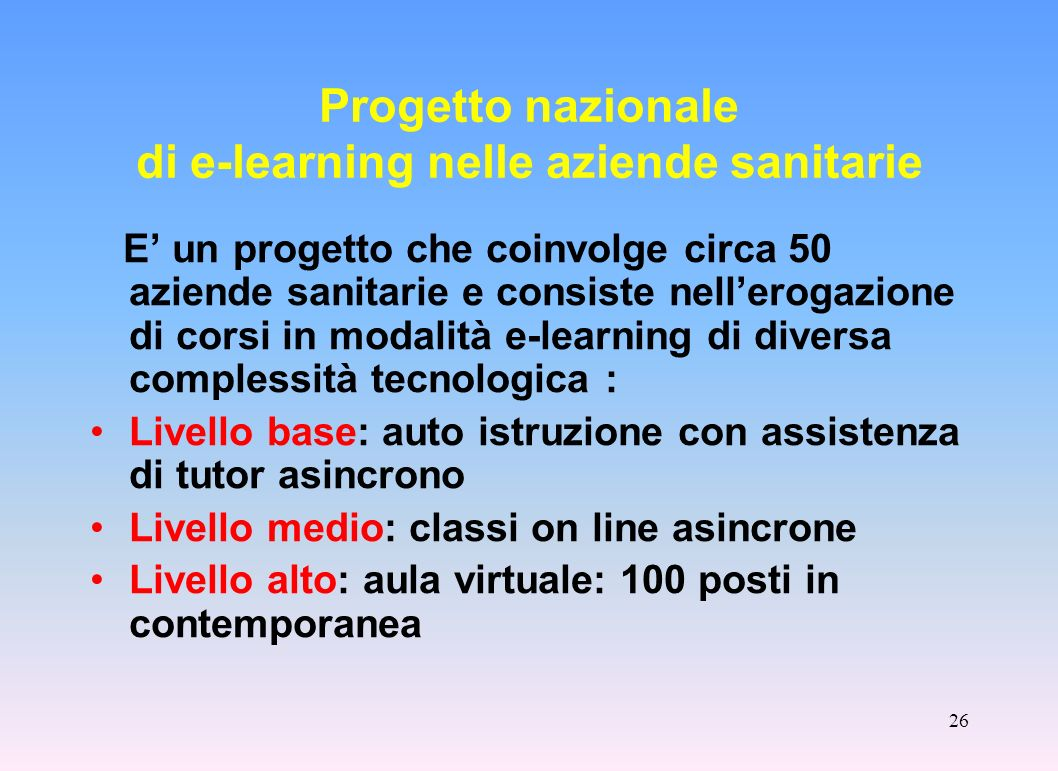 Progetto nazionale di e-learning nelle aziende sanitarie