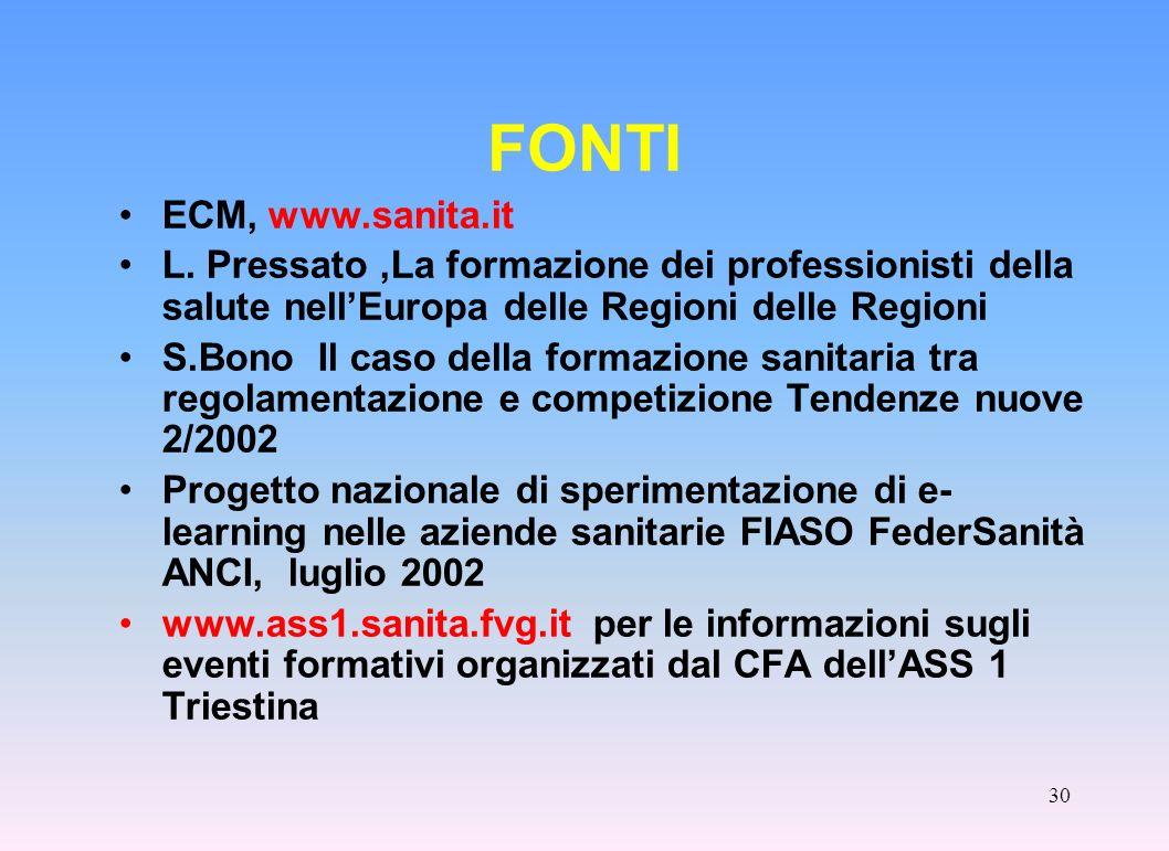 FONTI ECM, www.sanita.it. L. Pressato ,La formazione dei professionisti della salute nell'Europa delle Regioni delle Regioni.
