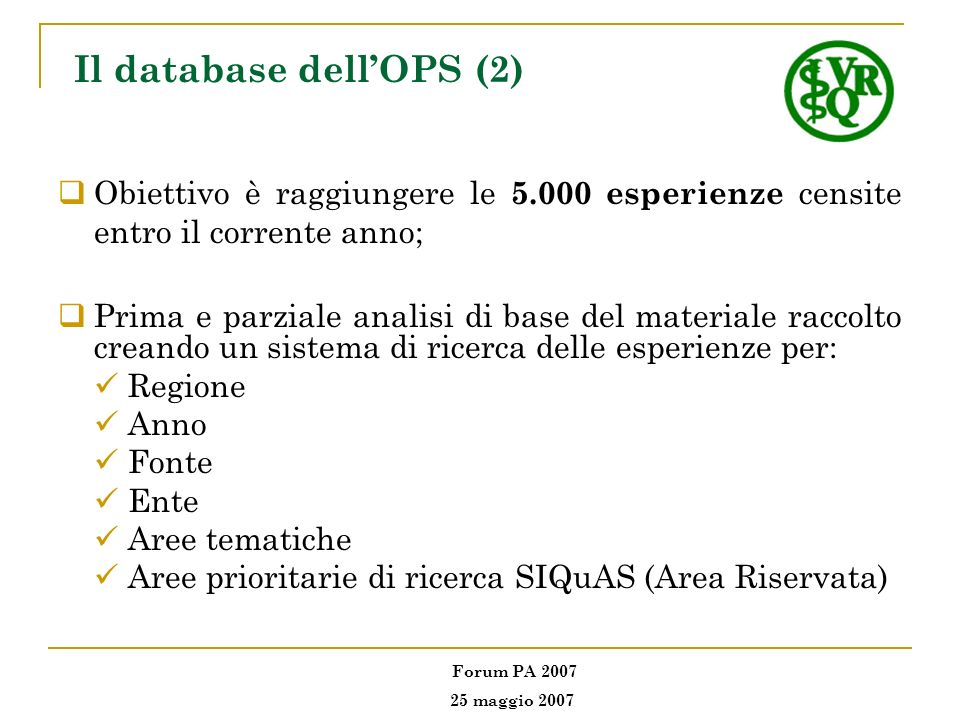 Il database dell'OPS (2)