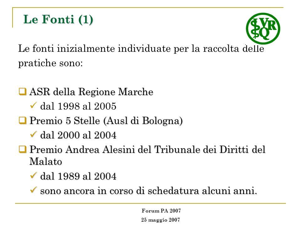 Le Fonti (1) Le fonti inizialmente individuate per la raccolta delle