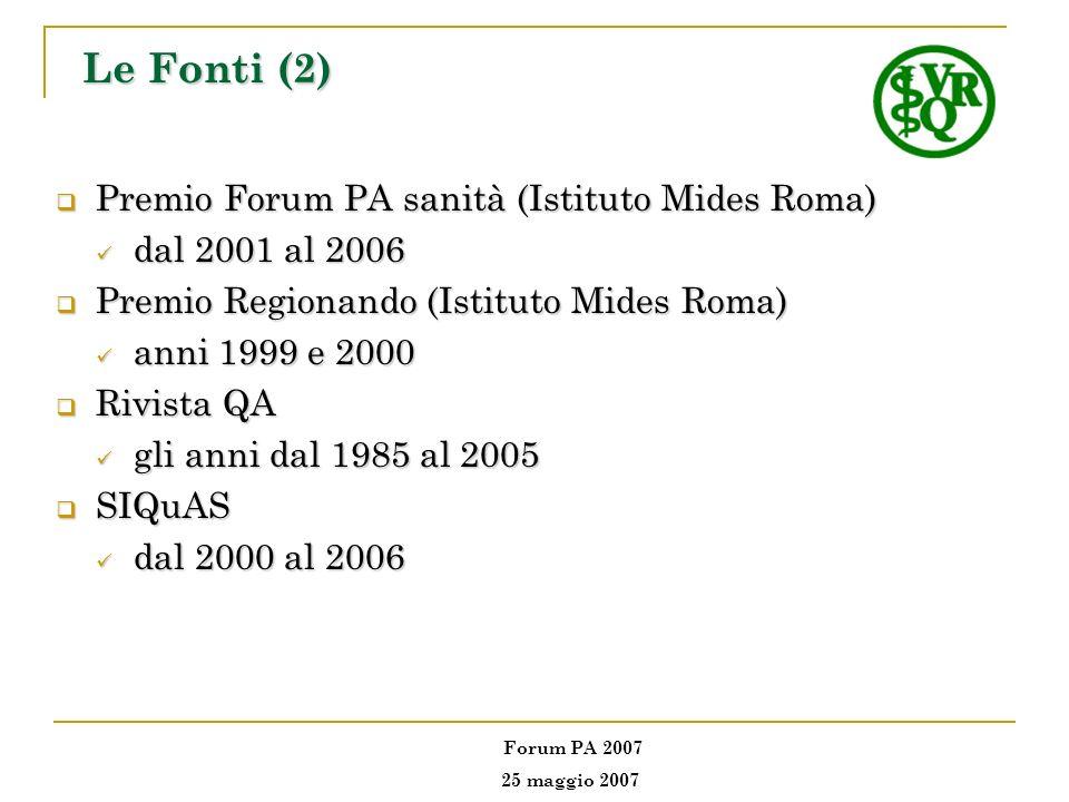 Le Fonti (2) Premio Forum PA sanità (Istituto Mides Roma)