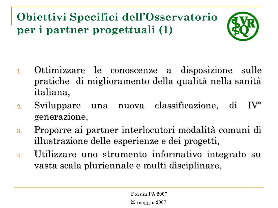 Obiettivi Specifici dell'Osservatorio per i partner progettuali (1)