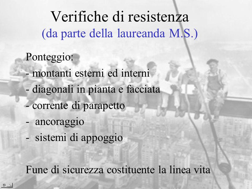 Verifiche di resistenza (da parte della laureanda M.S.)