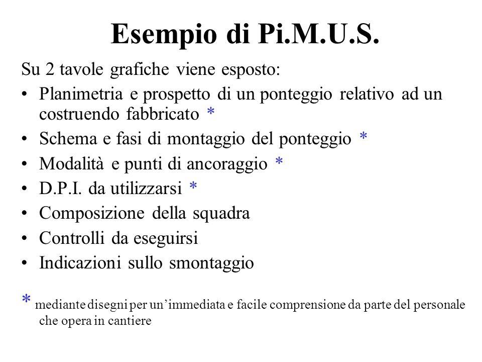 Esempio di Pi.M.U.S. Su 2 tavole grafiche viene esposto: Planimetria e prospetto di un ponteggio relativo ad un costruendo fabbricato *