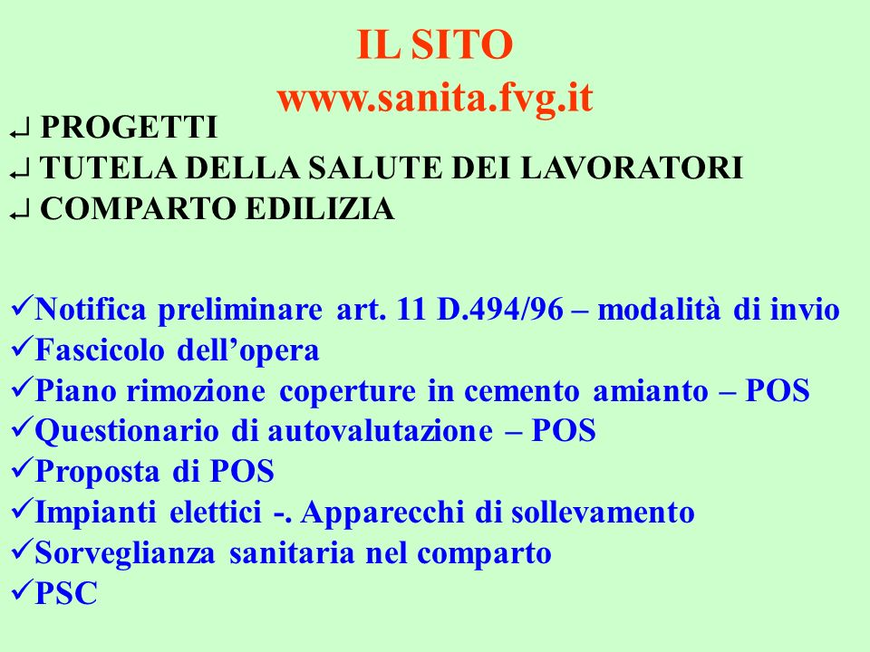 IL SITO www.sanita.fvg.it