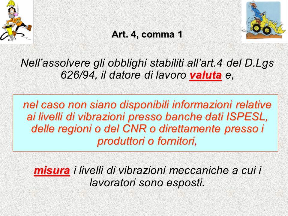 Art. 4, comma 1 Nell'assolvere gli obblighi stabiliti all'art.4 del D.Lgs 626/94, il datore di lavoro valuta e,