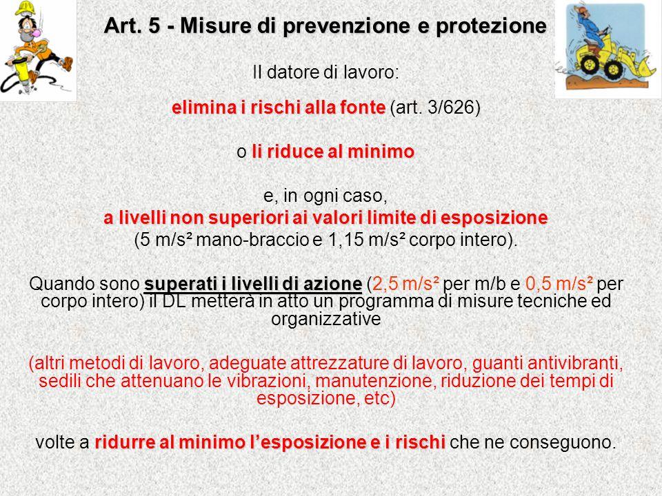 Art. 5 - Misure di prevenzione e protezione