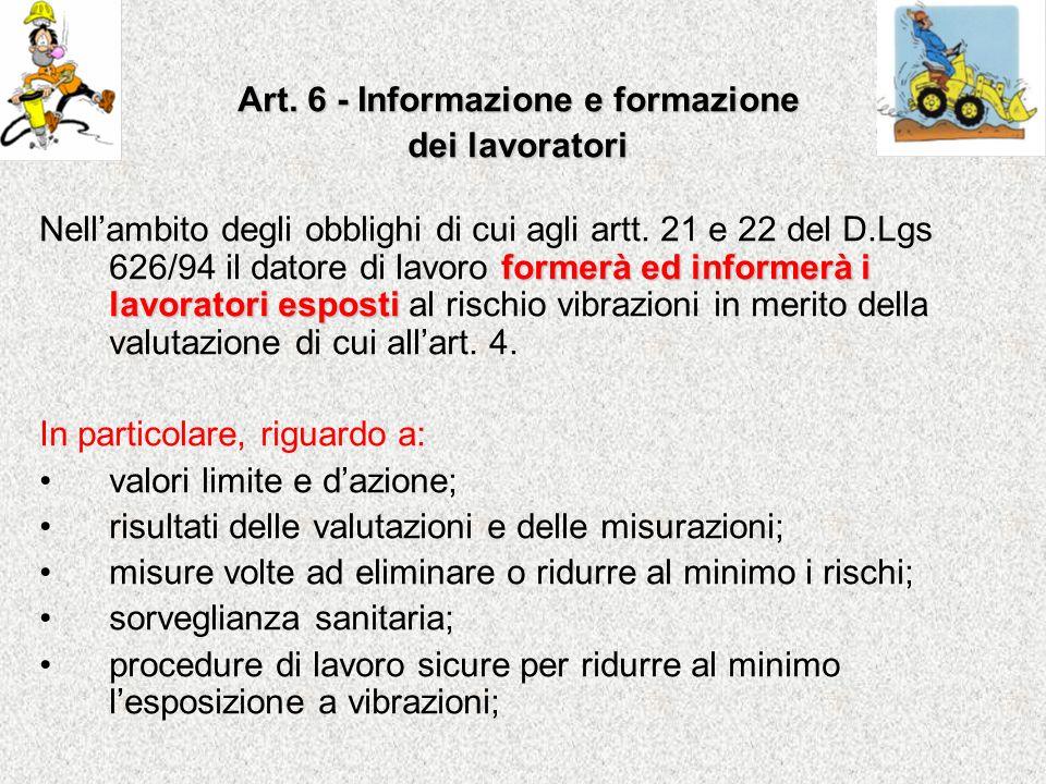 Art. 6 - Informazione e formazione