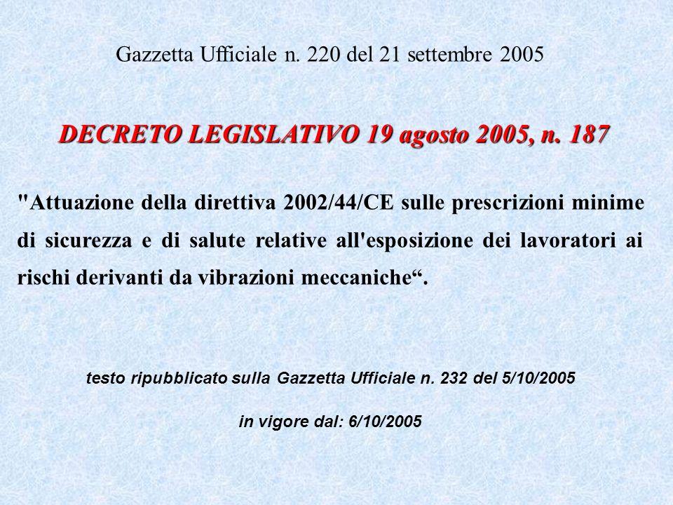 DECRETO LEGISLATIVO 19 agosto 2005, n. 187