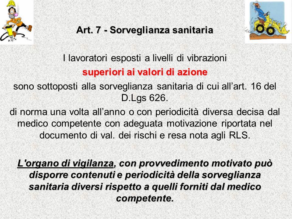 Art. 7 - Sorveglianza sanitaria superiori ai valori di azione