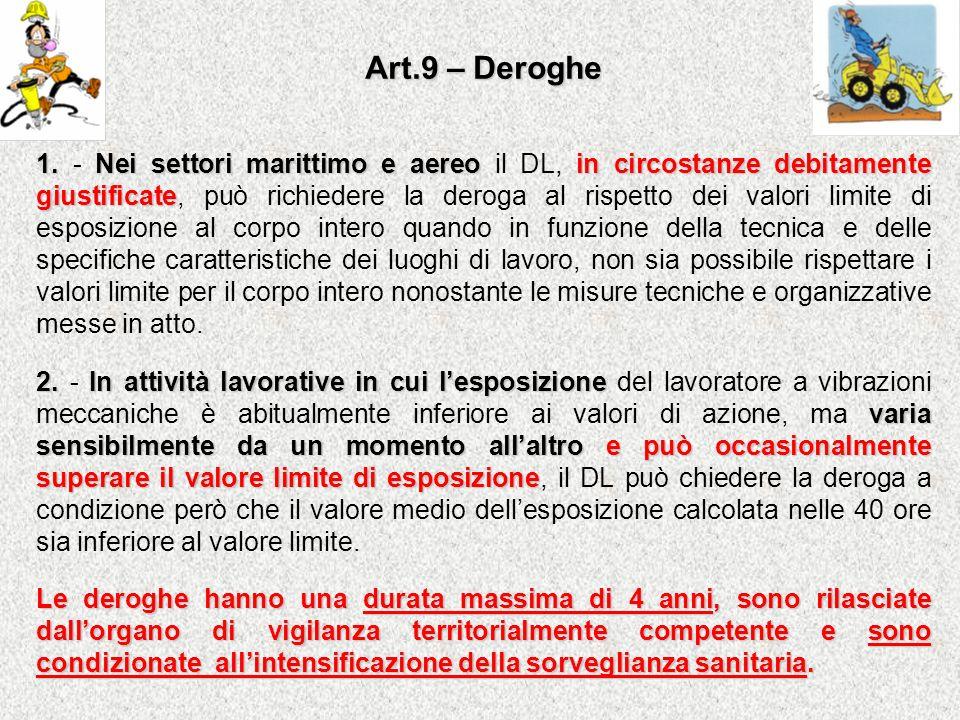 Art.9 – Deroghe