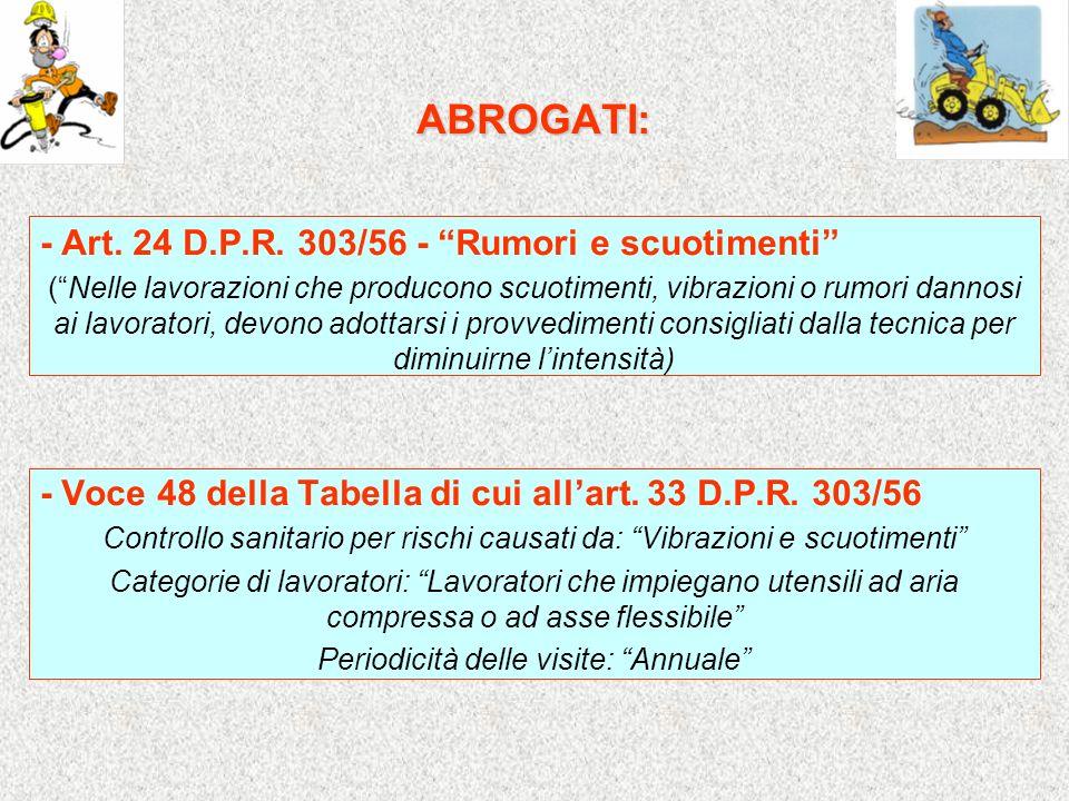 ABROGATI: - Art. 24 D.P.R. 303/56 - Rumori e scuotimenti