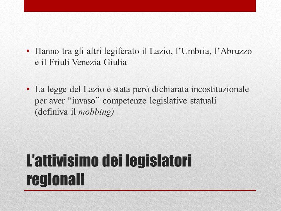 L'attivisimo dei legislatori regionali