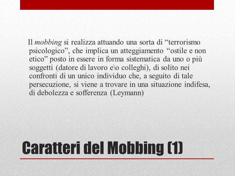 Caratteri del Mobbing (1)