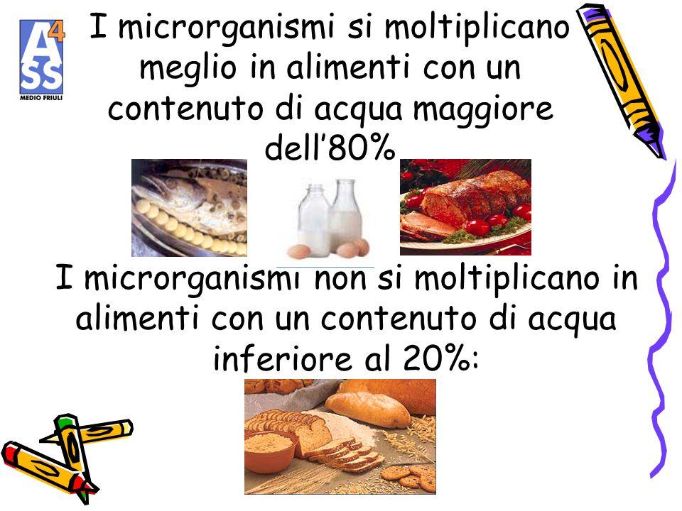 I microrganismi si moltiplicano meglio in alimenti con un contenuto di acqua maggiore dell'80%