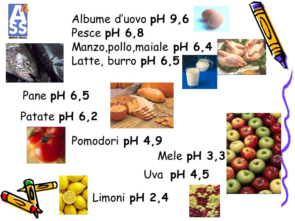Albume d'uovo pH 9,6 Pesce pH 6,8. Manzo,pollo,maiale pH 6,4. Latte, burro pH 6,5. Pane pH 6,5. Patate pH 6,2.