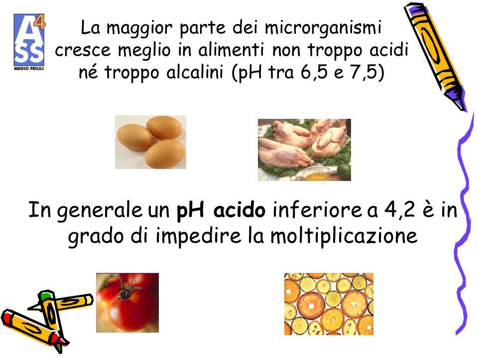 La maggior parte dei microrganismi cresce meglio in alimenti non troppo acidi né troppo alcalini (pH tra 6,5 e 7,5)
