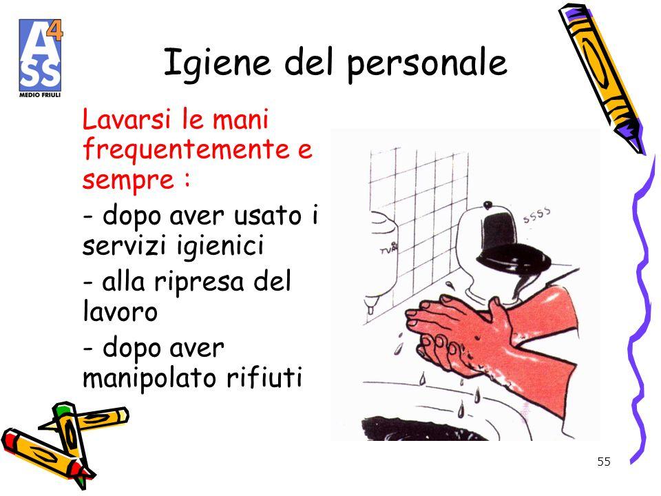 Igiene del personale Lavarsi le mani frequentemente e sempre :