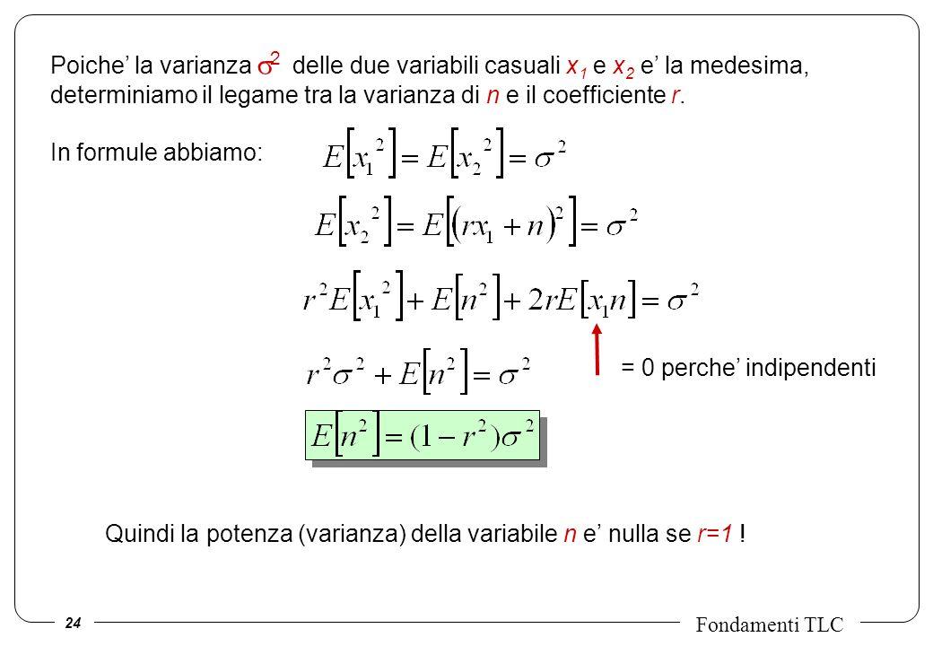 Poiche' la varianza s2 delle due variabili casuali x1 e x2 e' la medesima, determiniamo il legame tra la varianza di n e il coefficiente r.