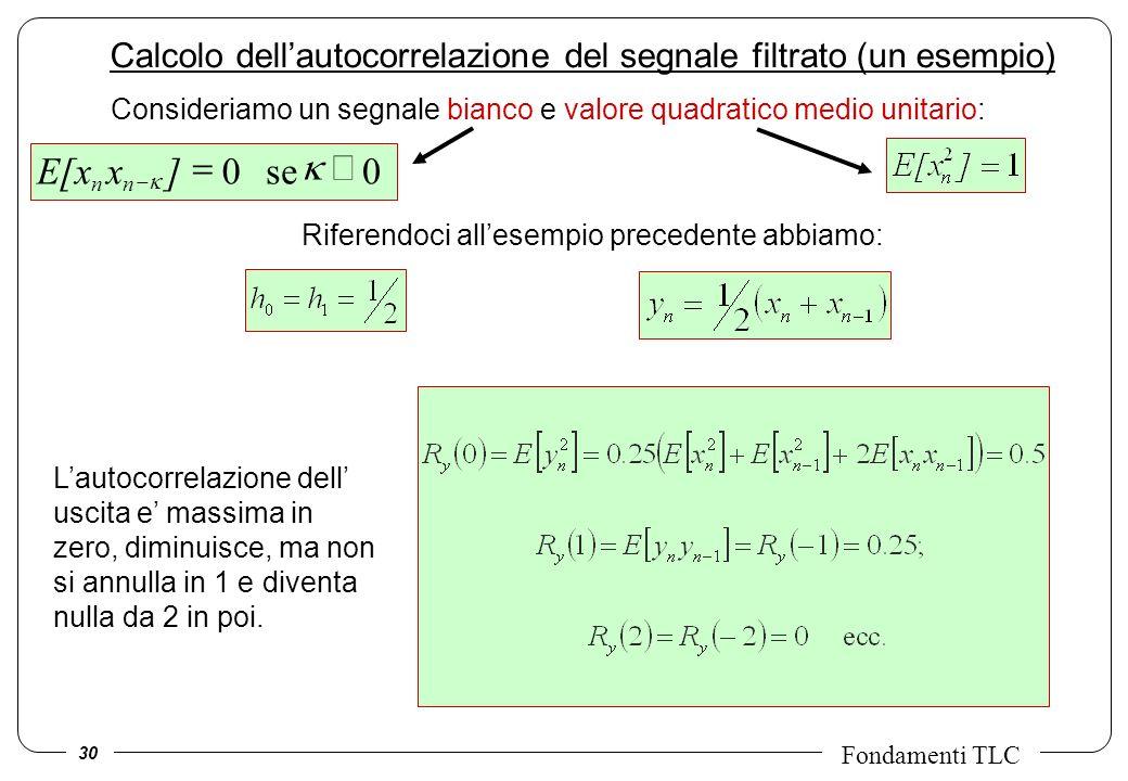 Calcolo dell'autocorrelazione del segnale filtrato (un esempio)
