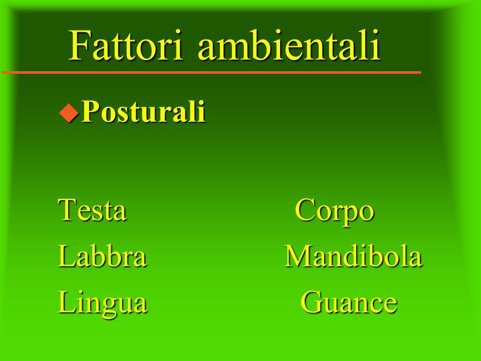 Fattori ambientali Posturali Testa Corpo Labbra Mandibola