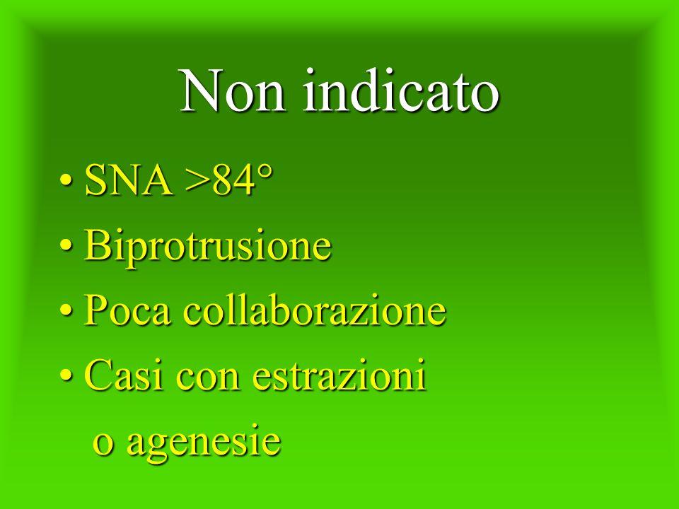 Non indicato SNA >84° Biprotrusione Poca collaborazione