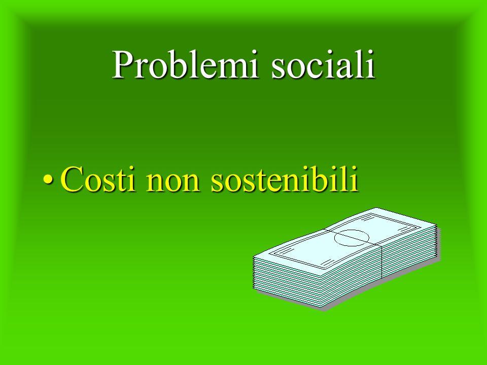 Problemi sociali Costi non sostenibili