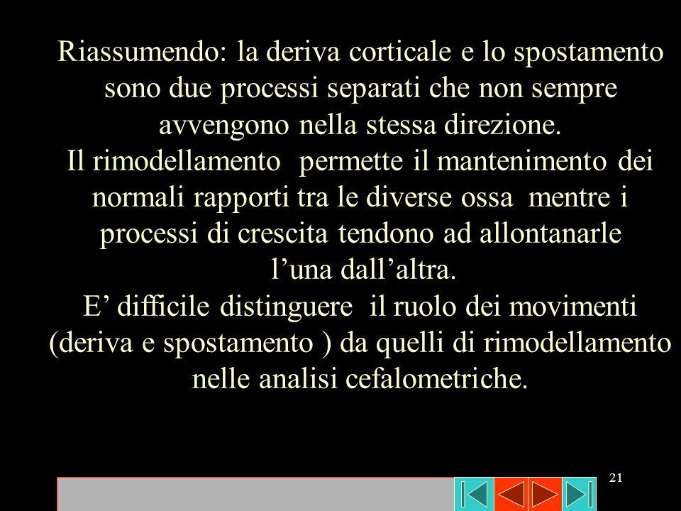 Riassumendo: la deriva corticale e lo spostamento sono due processi separati che non sempre avvengono nella stessa direzione.
