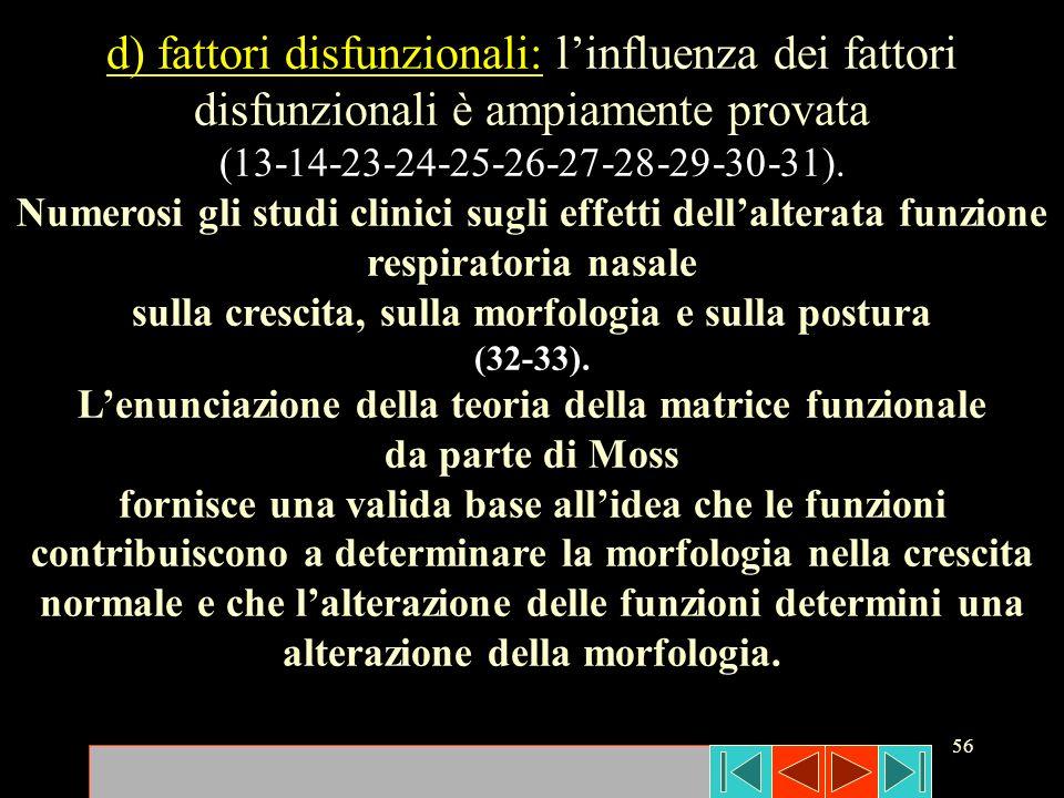 d) fattori disfunzionali: l'influenza dei fattori disfunzionali è ampiamente provata