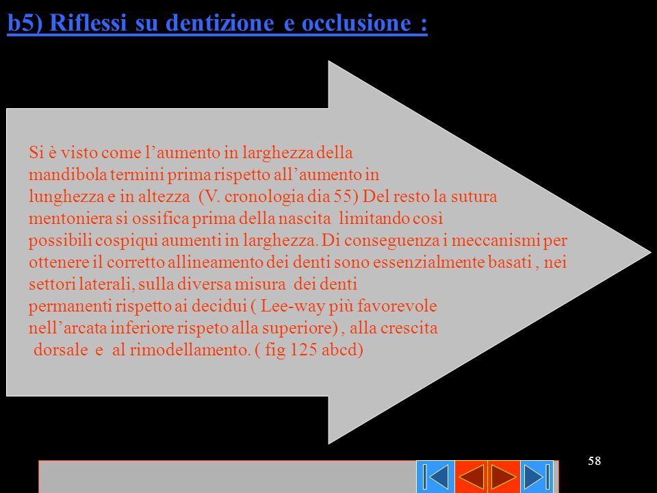 b5) Riflessi su dentizione e occlusione :