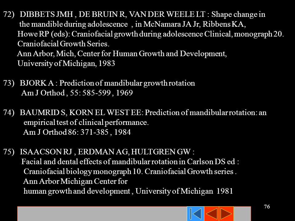 72) DIBBETS JMH , DE BRUIN R, VAN DER WEELE LT : Shape change in
