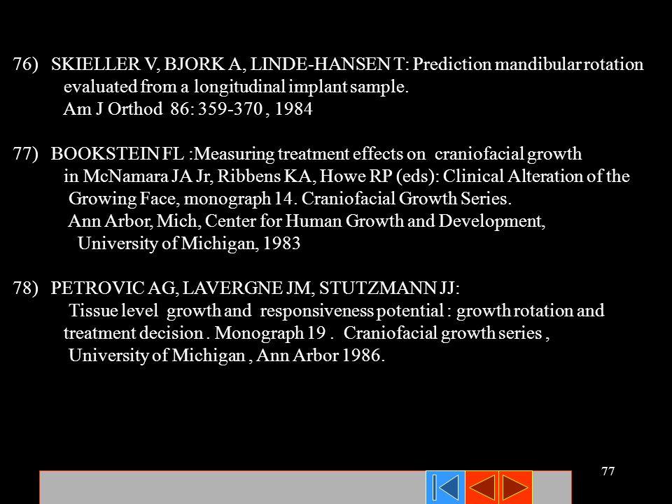 76) SKIELLER V, BJORK A, LINDE-HANSEN T: Prediction mandibular rotation