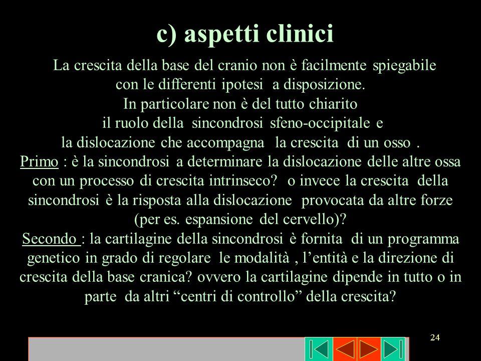 c) aspetti clinici La crescita della base del cranio non è facilmente spiegabile. con le differenti ipotesi a disposizione.