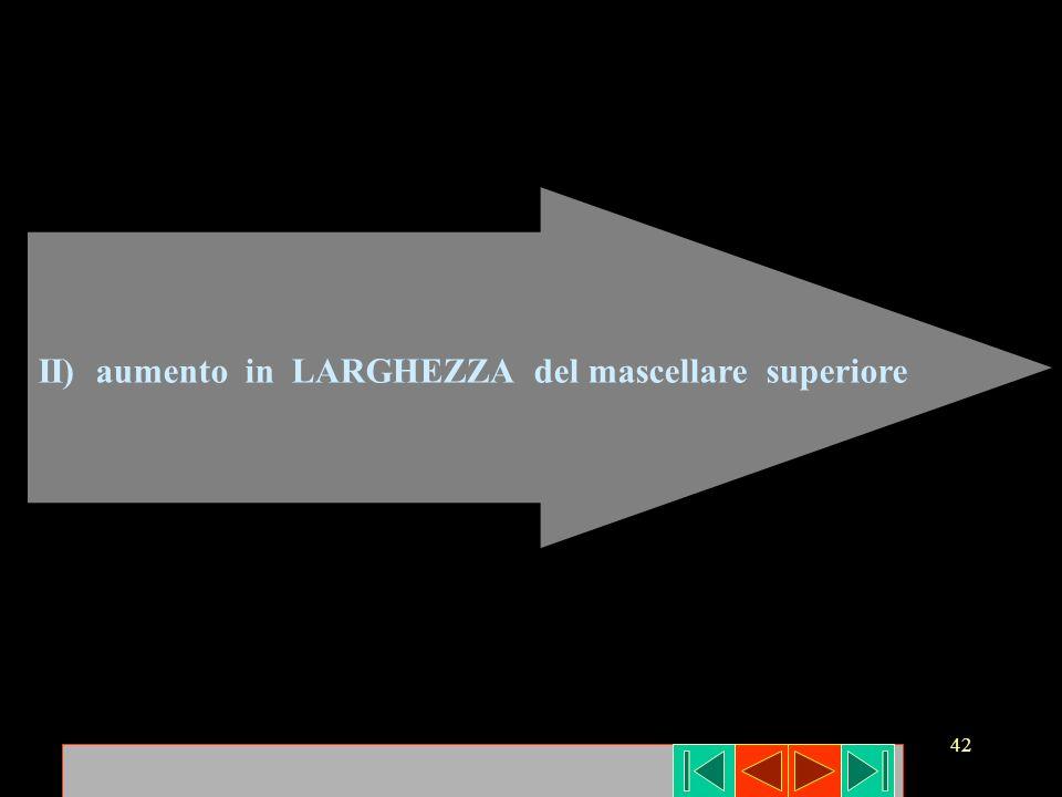 II) aumento in LARGHEZZA del mascellare superiore