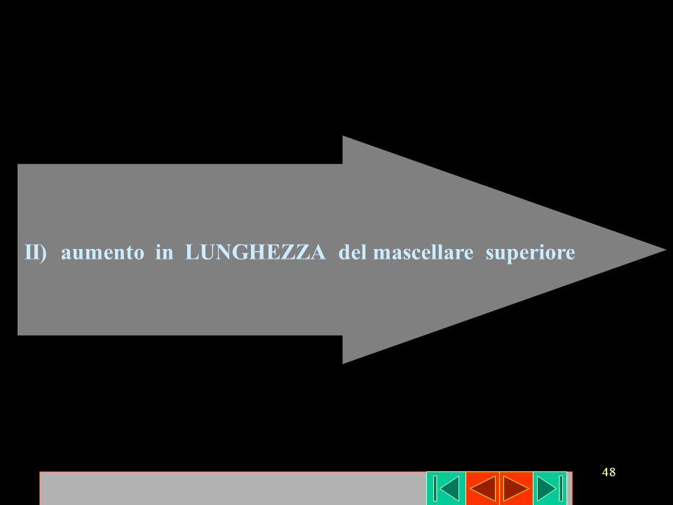 II) aumento in LUNGHEZZA del mascellare superiore
