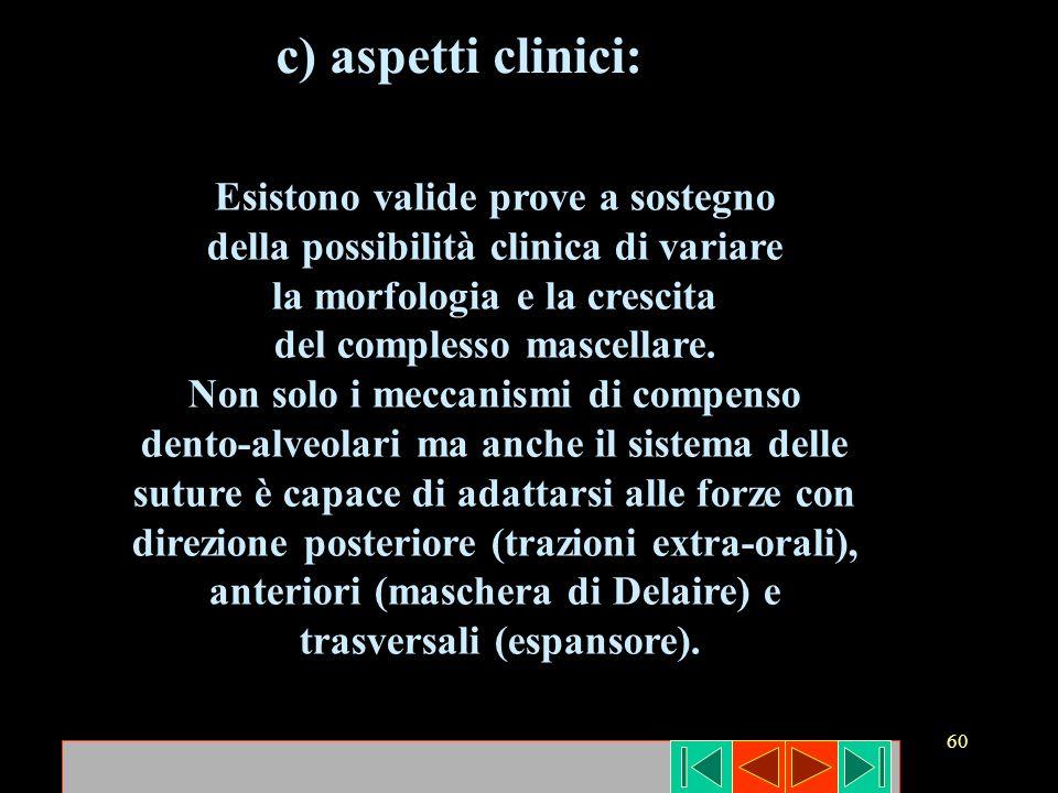 c) aspetti clinici: Esistono valide prove a sostegno