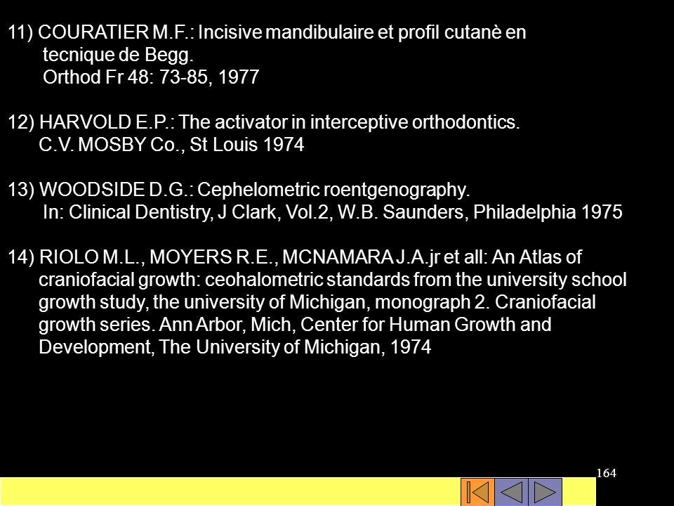11) COURATIER M.F.: Incisive mandibulaire et profil cutanè en