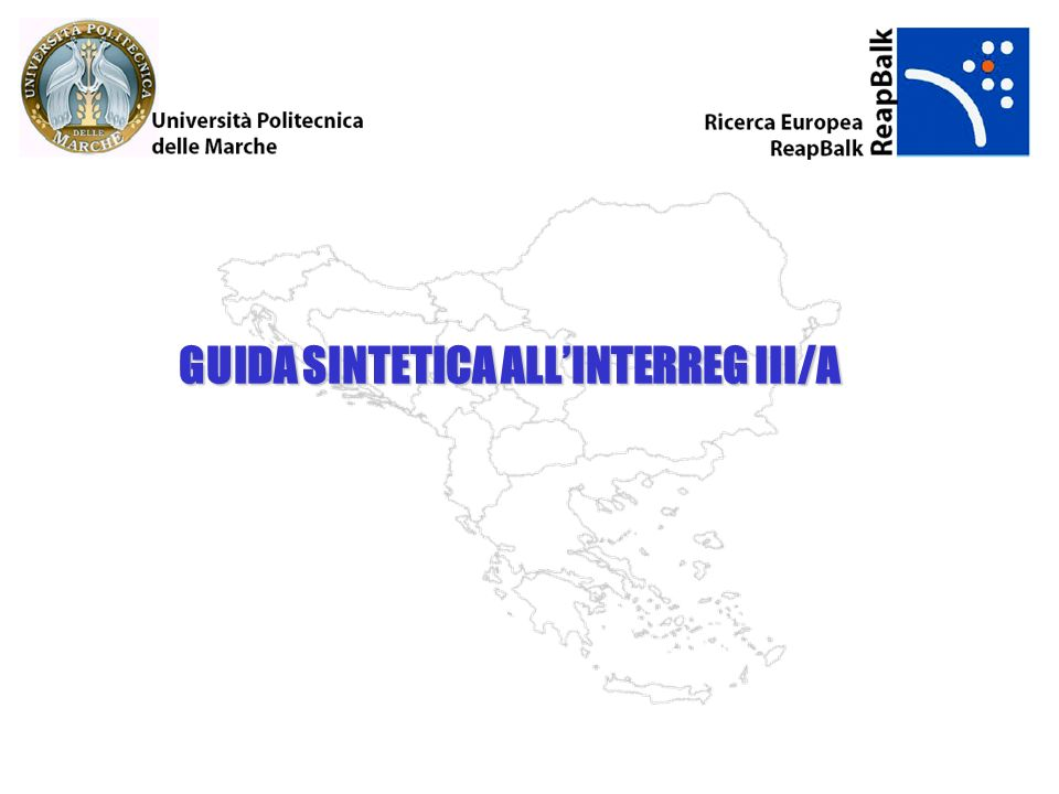 GUIDA SINTETICA ALL'INTERREG III/A