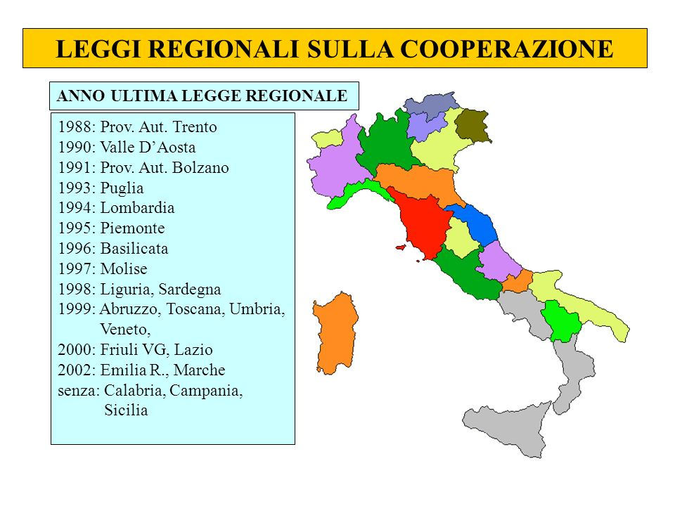 LEGGI REGIONALI SULLA COOPERAZIONE