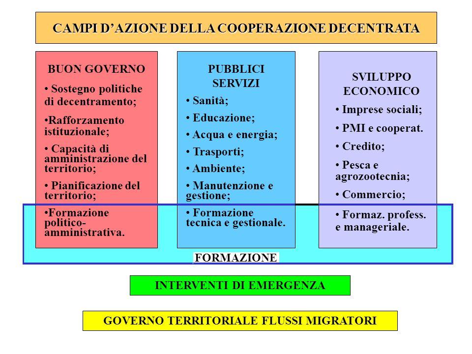 CAMPI D'AZIONE DELLA COOPERAZIONE DECENTRATA