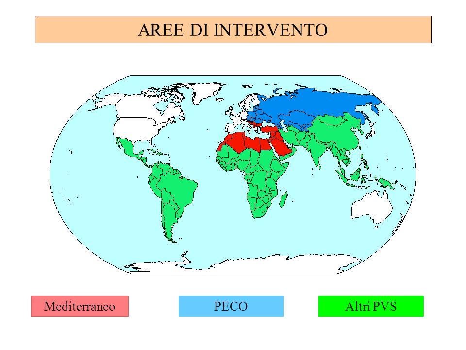 AREE DI INTERVENTO Mediterraneo PECO Altri PVS