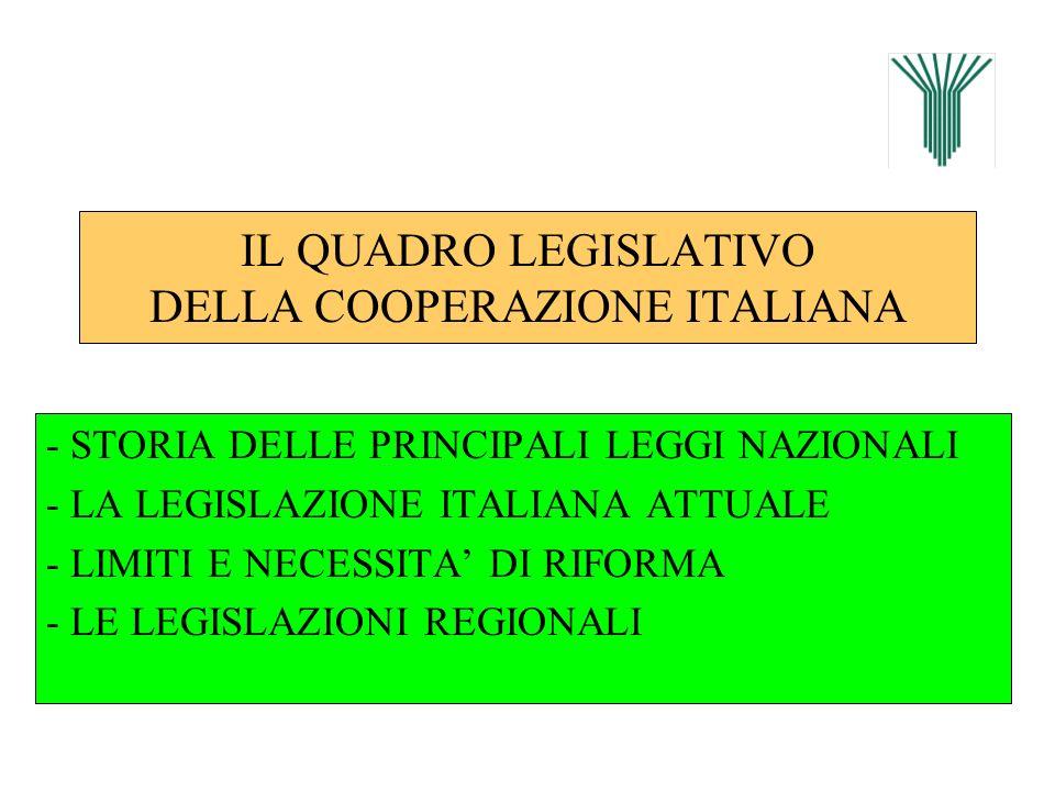 IL QUADRO LEGISLATIVO DELLA COOPERAZIONE ITALIANA