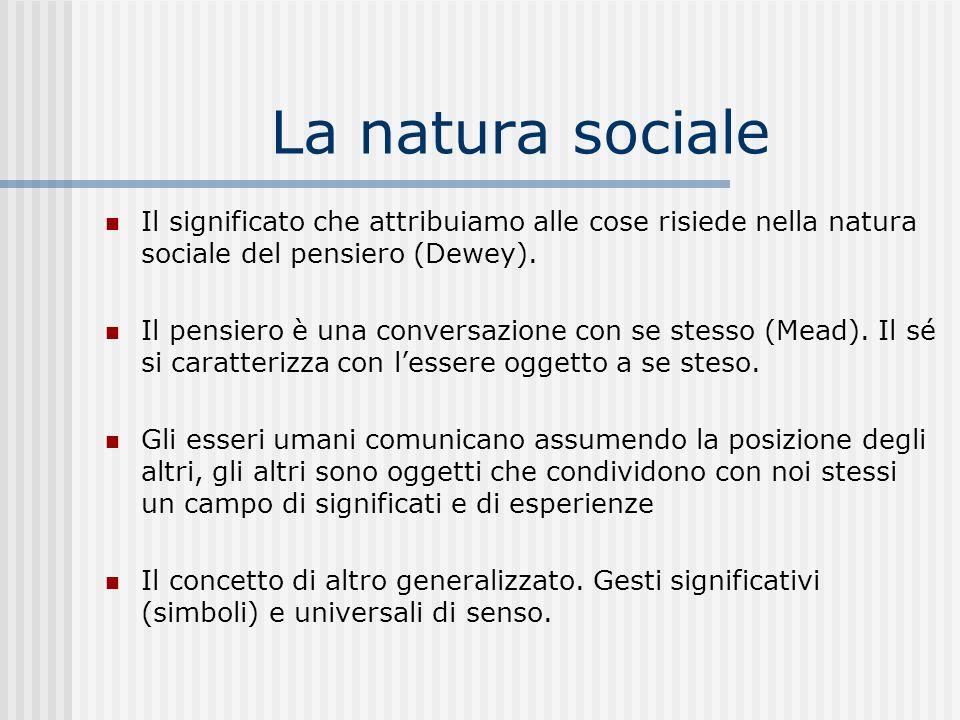 La natura sociale Il significato che attribuiamo alle cose risiede nella natura sociale del pensiero (Dewey).