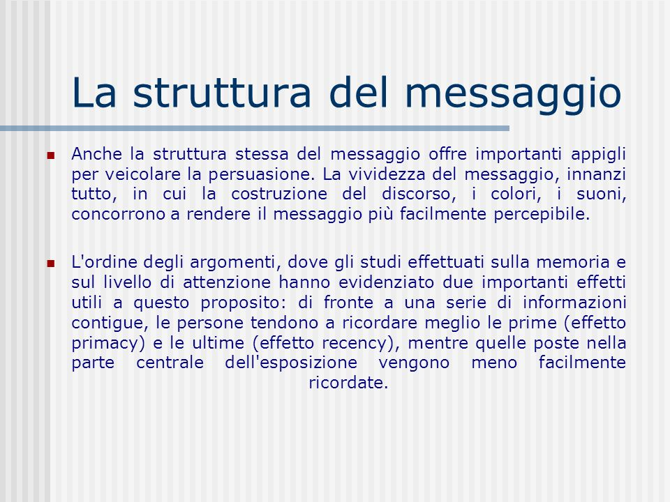 La struttura del messaggio