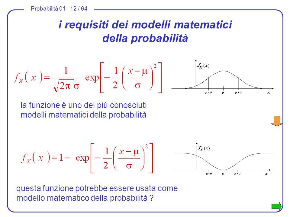 i requisiti dei modelli matematici della probabilità