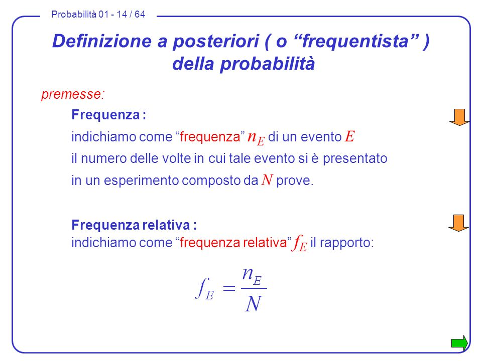 Definizione a posteriori ( o frequentista ) della probabilità
