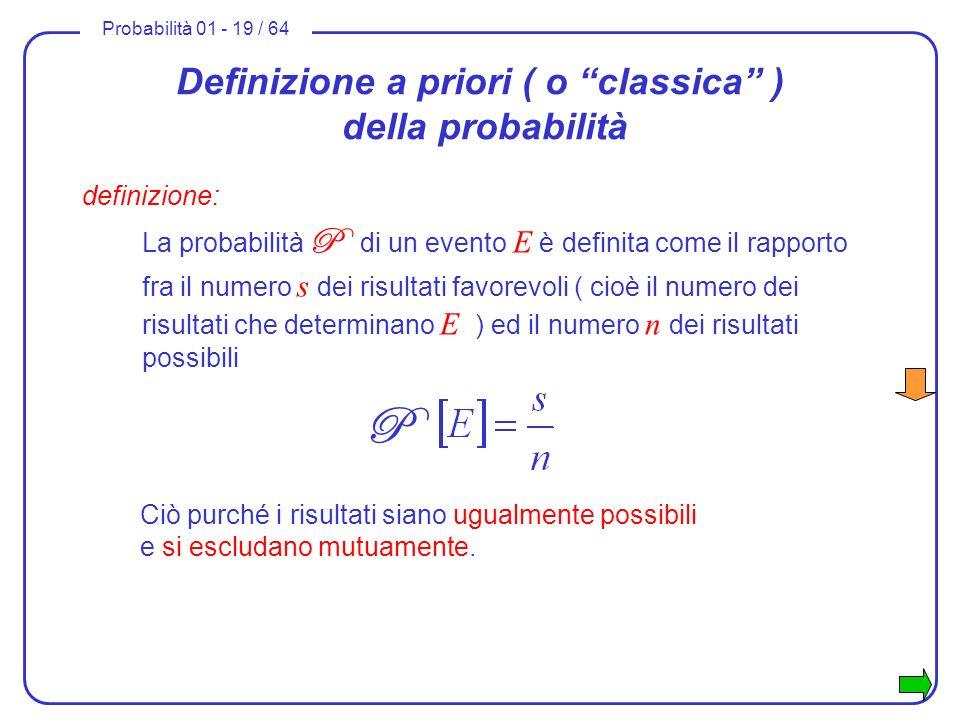 Definizione a priori ( o classica ) della probabilità